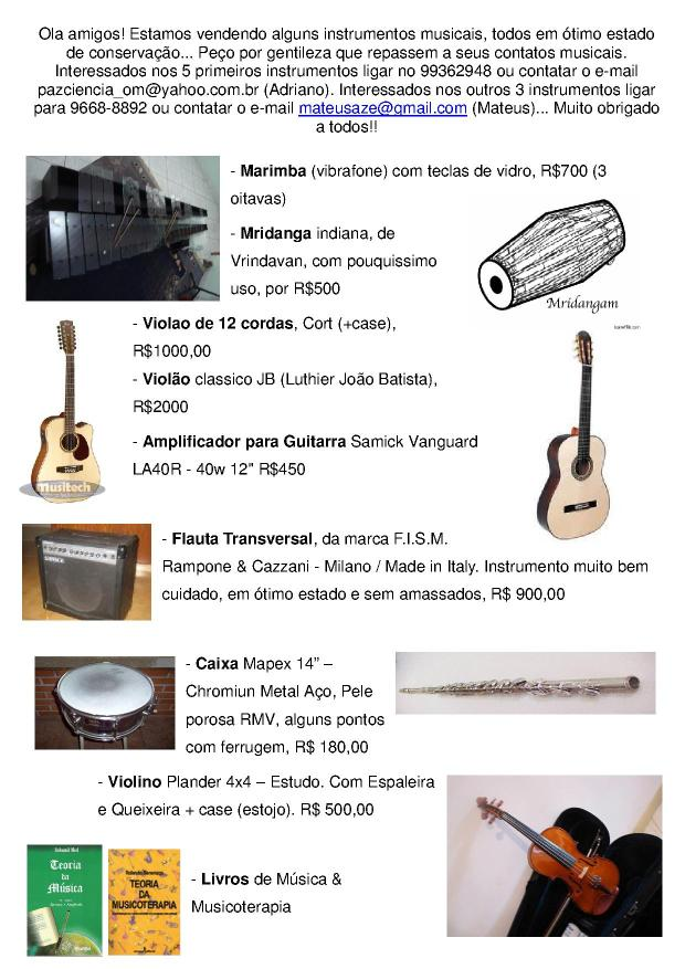 Venda de Instrumentos Musicais...